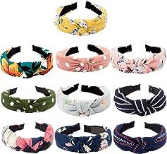 TOBATOBA 10 pcs Bow Knot Headband Floral Twist Turban Headband Cross Knot Wide Headbands Bandana Hair Accessories for Wome...