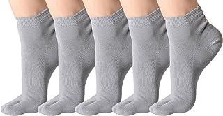 (Pack de 5 pares Calcetines de Algodón Transpirable de Flip Flop Tabi Toe Calcetines Antideslizantes para Adulto