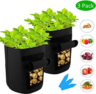 SYOURSELF 3 Pack 7 Galllon Potato Planter Grow Bags, Double Layer 400GSM Non-Woven Fabric Pots with Handles,Potato Peanut Growing Box for Nursery Garden+3 Waterproof Labels(Black)