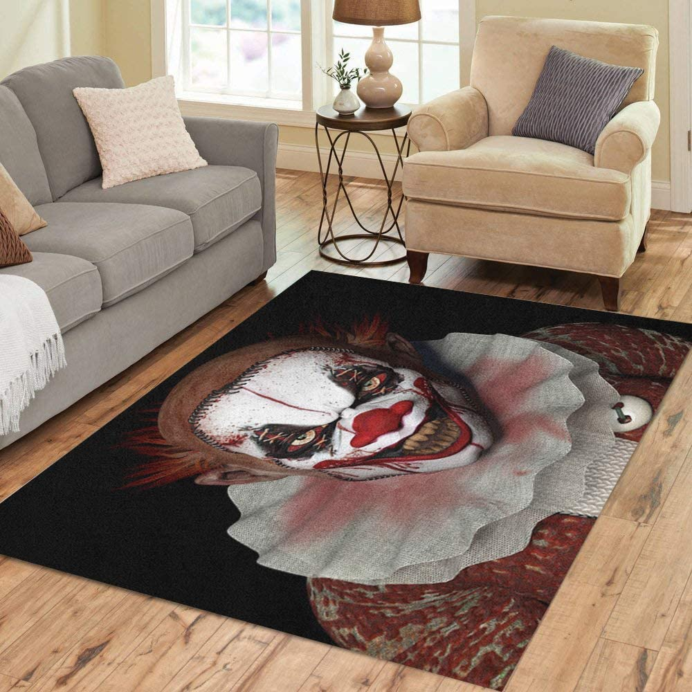 Pinbeam Area Overseas parallel import regular item Mail order Rug Scary Scarier Glaring Teeth Clown Pointy Sharp