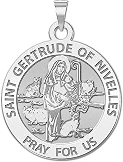 PicturesOnGold.com Saint Gertrude of Nivelles Round Religious Medal - - 2/3 Inch Size of Dime, Sterling Silver