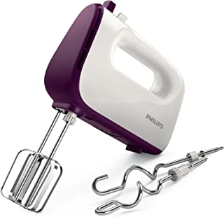 Philips HR3740/11 Viva Collection Hand Mixer -White/Deep Purple, 400W, Stainless Steel Hooks, 5 speeds + turbo, Double Bal...