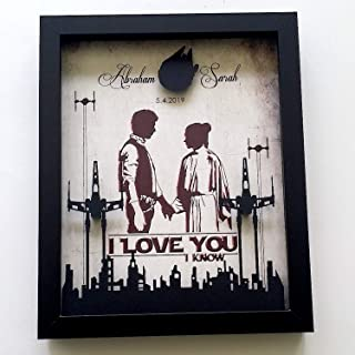 3D Shadowbox - 8X10 Star Wars Inspired Anniversary Gift For Couples   I Love You I Know Wedding Anniversary Gift, Floating X Wing Skyline And Millennium Falcon