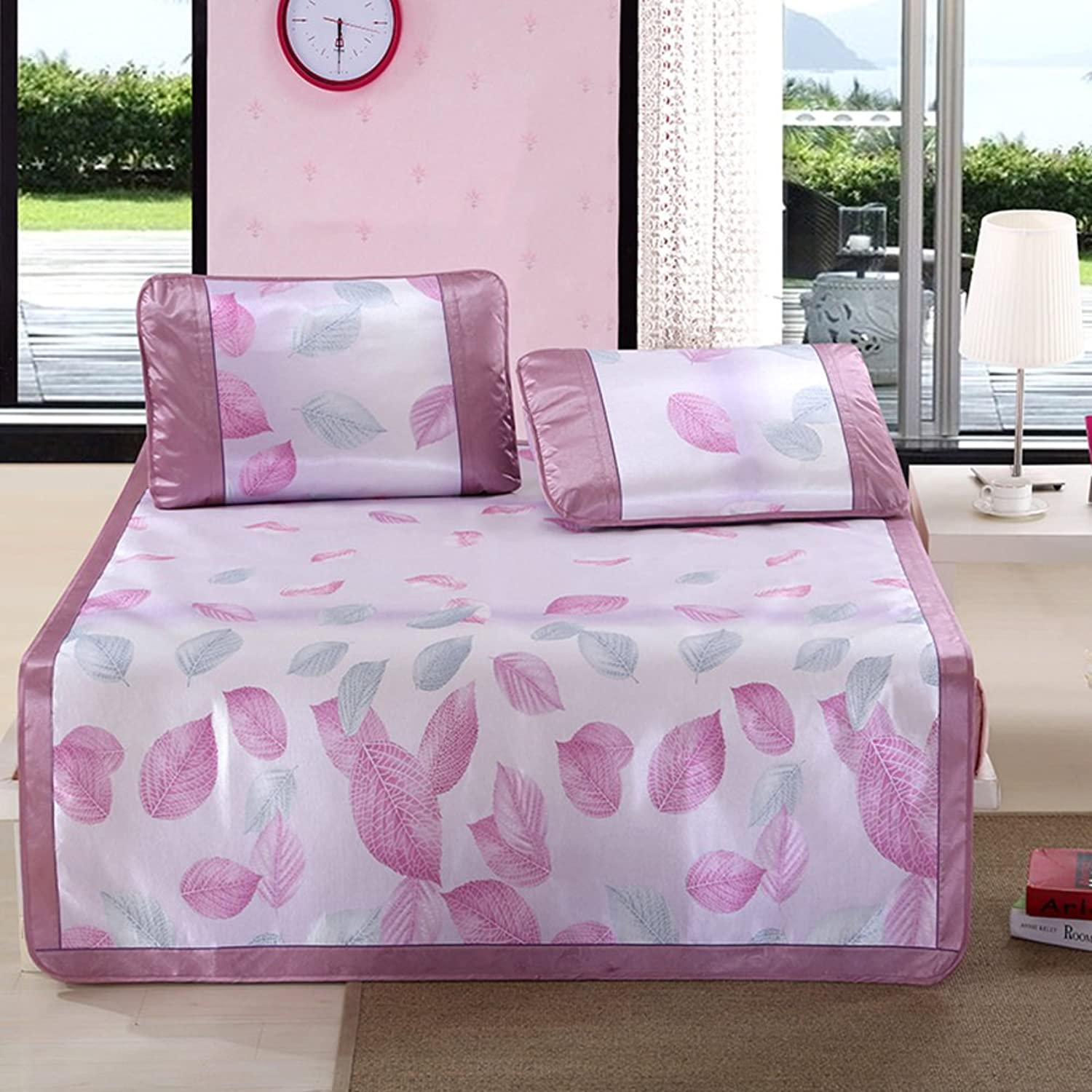 Summer Ice Silk Mat Three-Piece Foldable Printing Thick Air Conditioning Soft Seat(1 Mat+2 Pillowcase)-F Queen2