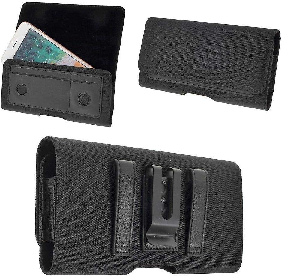 DFV mobile - Nuevo Diseño Funda Cinturón Clip Metálico Horizontal Textil y Piel con Tarjetero para XIAOMI MI A2 Lite - Negra