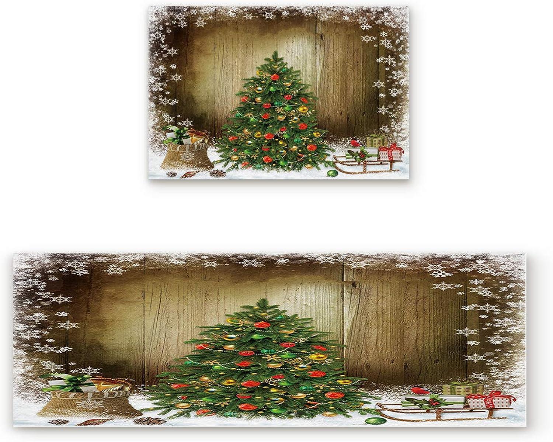 Libaoge Non-Skid Slip Rubber Backing Kitchen Mat Runner Area Rug Doormat Set, Christmas Tree with Holiday Presents Vintage Style Carpet Indoor Floor Mats Door 2 Packs, 19.7 x31.5 +19.7 x47.2
