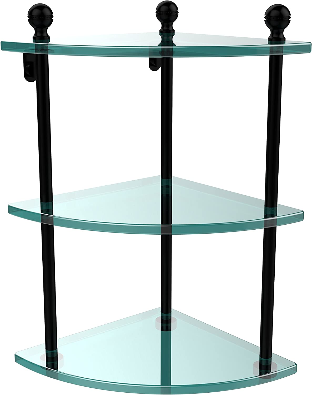 Allied Brass MA-6-BKM Triple Corner Glass Shelf Matte Black