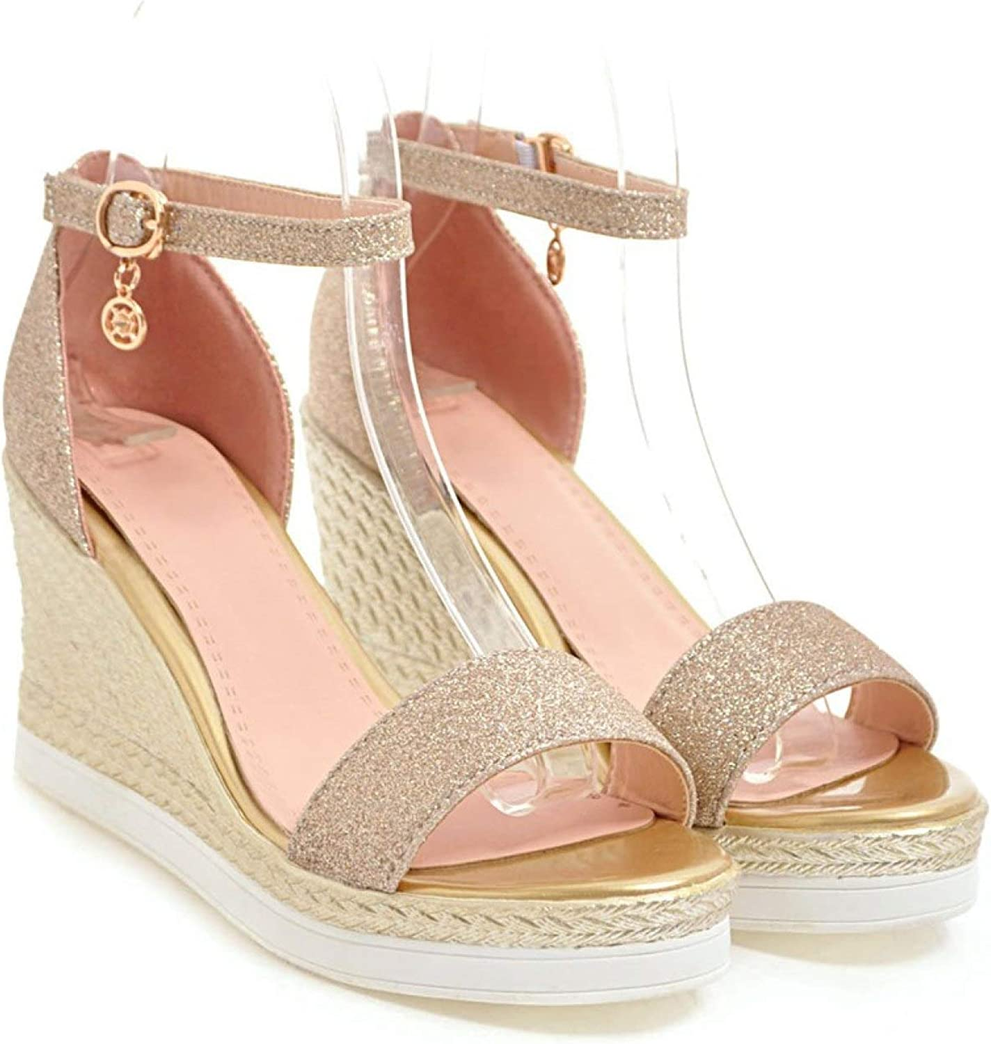 Women's Shiny Ankle Strap Sale price Platform Fa Free Shipping New Sandals Ladies Heels Wedge