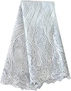 Fongbay 5 Yards African Lacey 2018 Bridal Latest Fabrics Embroidered and Rhinestones Guipure Cord Lace Wedding Evening Dress (White)