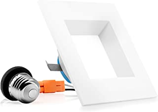 Parmida (1 Pack) 4 inch Dimmable LED Square Retrofit Recessed Downlight, 9W (65W Replacement), 600lm, 3000K (Soft White), Energy Star & ETL, LED Ceiling Can Light, LED Trim