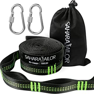 Sahara Sailor Hammock Straps XL (Set of 2), Adjustable Hammock Tree Hanging Straps 1400+ LBS Heavy Duty Non-Stretch Suspension System Kit (2 Stainless Steel Carabiners Included)