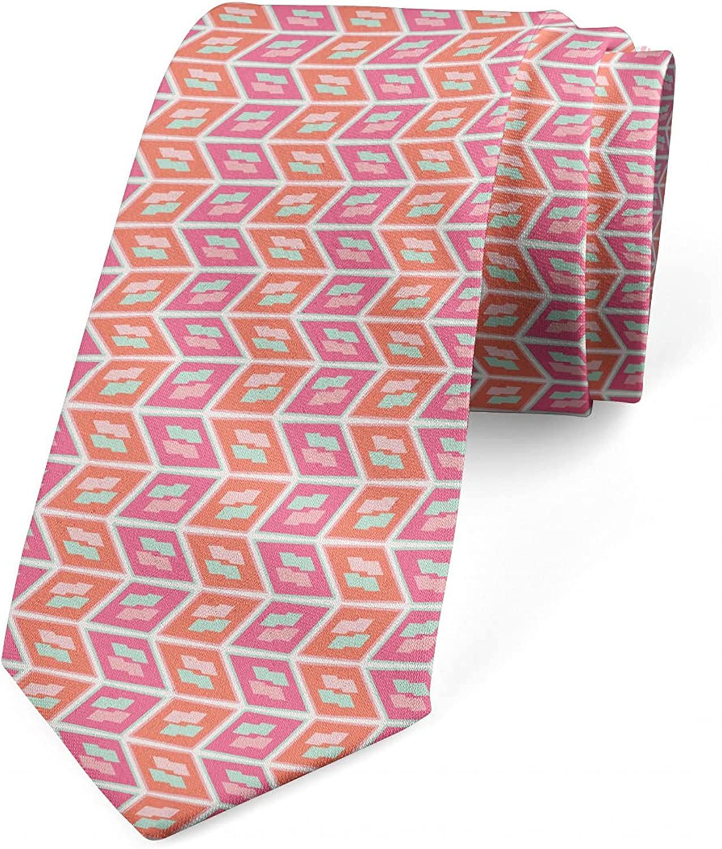 Ambesonne Necktie, Abstract Tone Chevron Like, 3.7