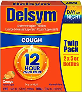 COS 20 - Twin Pack Delsym Adult Liquid Cough Suppressant 12 Hour Cough Relief DAY or Night Alcohol Free Orange Flavored Liquid- 2 Bottles of 5 Oz ( 10 Oz Total)