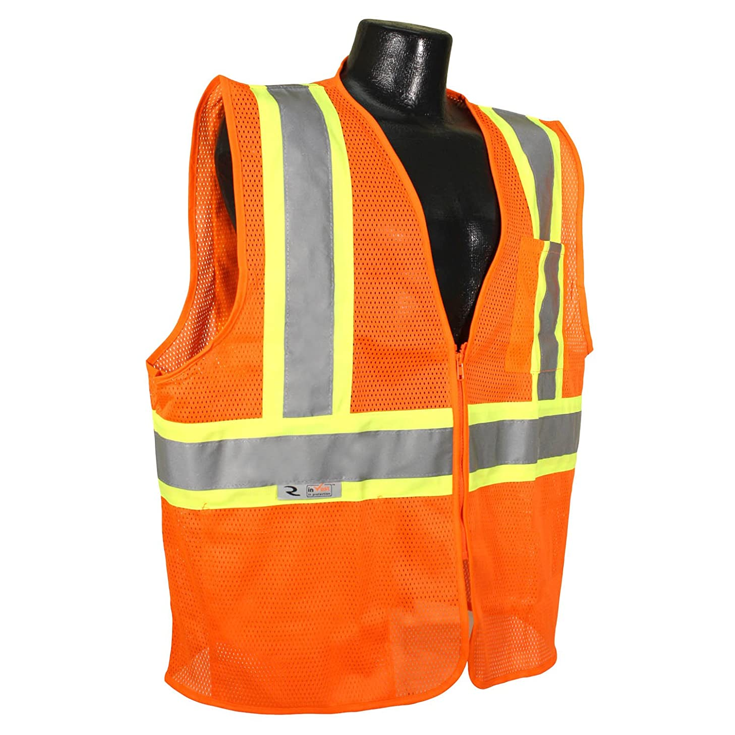 Radians SV225-2ZOM-L Polyester Mesh Economy Class-2 Fire Retardant Vest with Two Tone Trim, Large, Orange