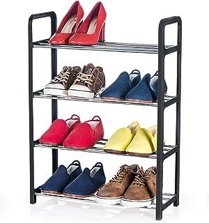 Artmoon Banff Zapatero Compacto 4 Pisos | Organizador de Calzado para Espacios Pequeños | Estantería para Almacenar 8 Pares de Zapatos | Estantes de Barras de Metal y Marco de Ratán de Plástico Negro