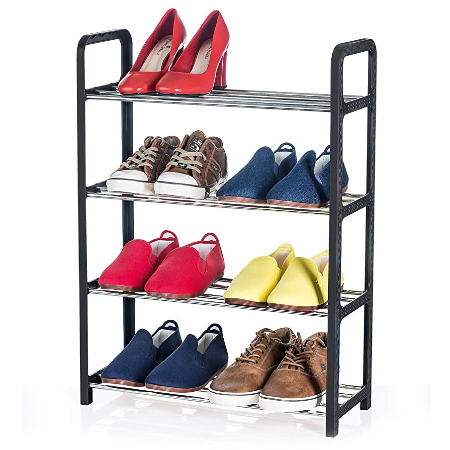 Artmoon Banff Compact and Functional 4 Tier Shoe Rack |8 Pairs |Easy to Assemble Without Tools | Entryway Shoe Tower with Metal Shelves and Black Plastic Rattan Frame