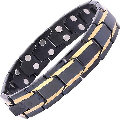 Amazheal Bio Magnetic Latest Therapy Double Ton Titanium Metal Bracelet For Men Women