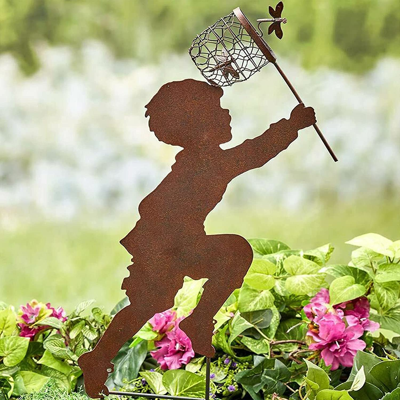 JINRS Shadow Sculpture, Yard Art Garden Centerfold Hollow Metal Decor, Realistic 3D Garden Statues -Metal Boy Girl Silhouette Figurines Yard Stake for Outdoor Lawn Decor for Flower Beds, Backyards