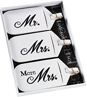 Lillian Rose Set of 3 Mr & Mrs Luggage Tags White