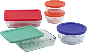Pyrex Simply Store Glass Food Set with Multi-Colored Lids (10-Piece) Meal Prep Containers