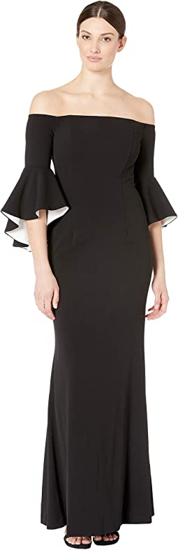 Off Shoulder Gown with Flutter Contrast Lining Sleeve