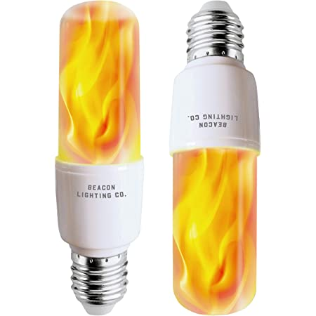 LED Flame Effect Light Bulbs - E26 LED Bulb with Gravity Sensor Flame Night Bulb for Holiday Gifts Home Hotel Bar Party Decoration (2 Pack)