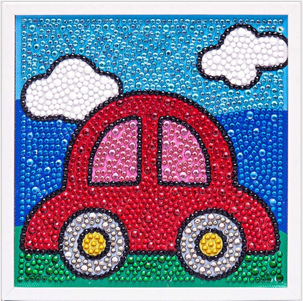 8-10 DOITPE 5D Diamond Painting for Kids with Wooden Frame 6x6inches 12 Gem Painting Kit Diamond Arts and Crafts for Kids Ages 4-6 Diamond Painting Kits for Kids Boys Girls