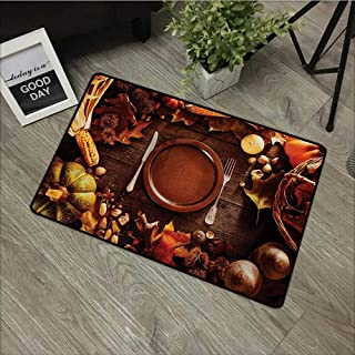 Moses Whitehead Universal Door Mat Harvest,Dinner at Thanksgiving Fall Color Theme Plate and Cutlery Various Seasonal Food,Brown Orange,for Daily Use-Stylish Floor Mat 30