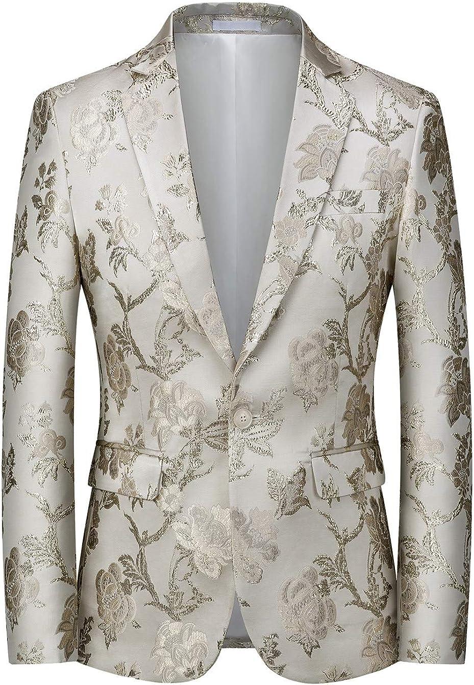 MOGU Mens Metallic 新色追加して再販 Jacquard Blazer Fit Elegant Suit 当店一番人気 Slim Tuxedo