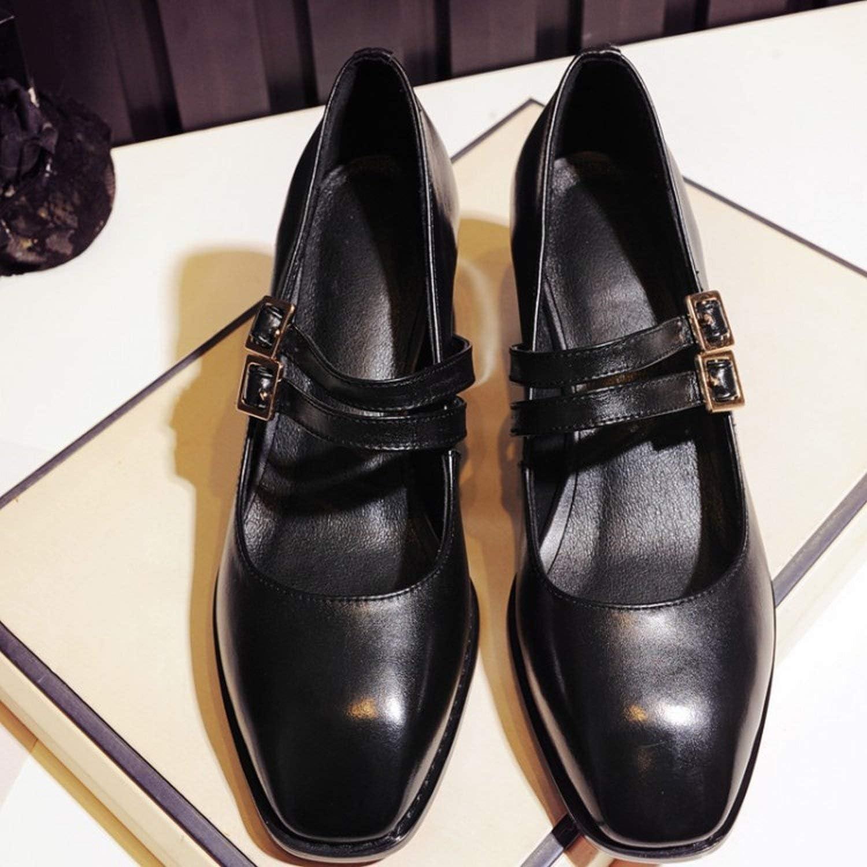 Retro Kopf, quadratisch High Heels Dick mit Schuhen von Frauen zu Mund Krokodil oberflächlich (Farbe   Schwarz, Größe   39)  | Die Farbe ist sehr auffällig