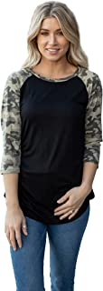 Tickled Teal Women's Super Soft Black Camo Pattern Raglan Top Blouse