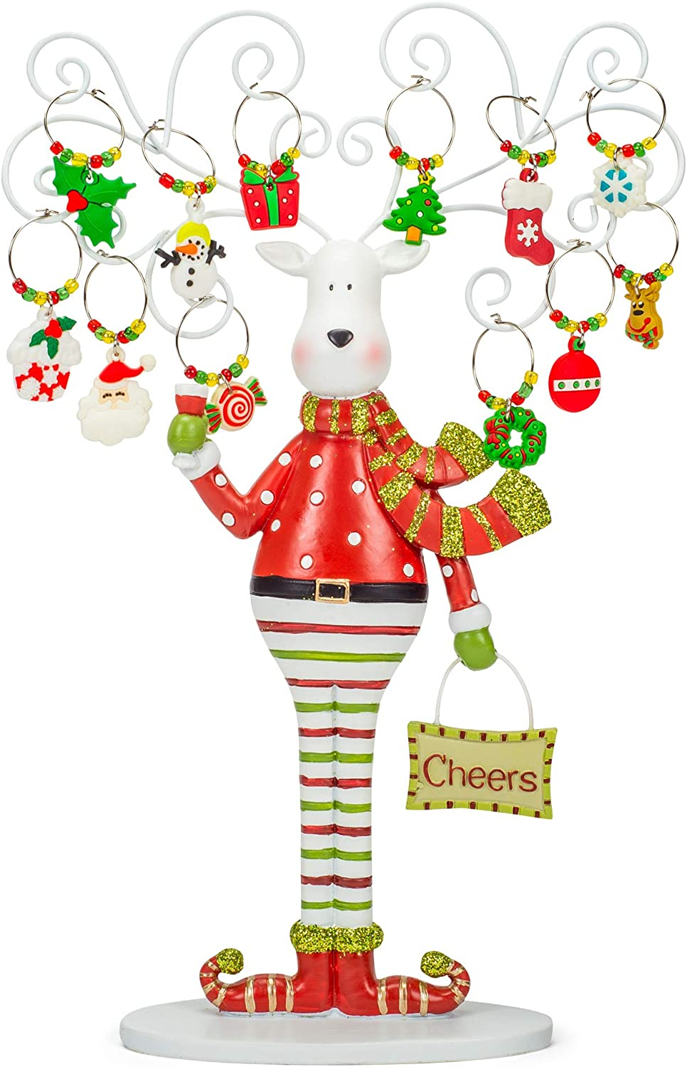 Reindeer Tree Silver Large-scale sale Tone 13 High quality x 9 Stone C Glass Marker Wine Resin