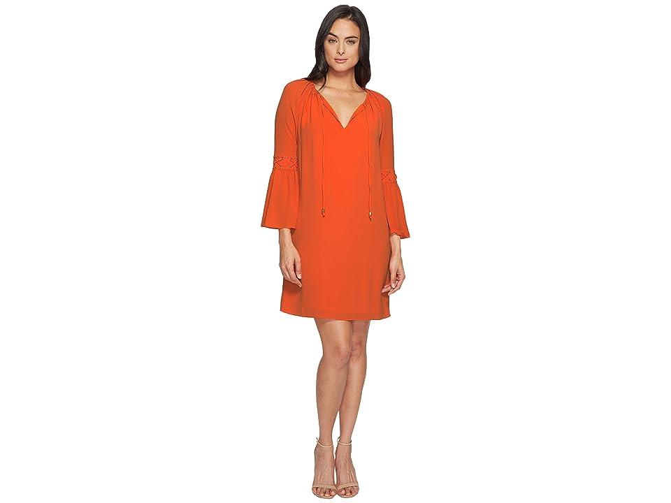 MICHAEL Michael Kors Lace-Up Sleeve Dress (Poppy) Women