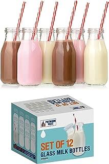 Premium Vials, 11 Oz Glass Milk Bottle Set of 12 - Includes Reusable White Lids and Straws