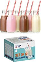 Premium Vials, 11 Oz Glass Milk Bottle Set of 12 - Includes Reusable White Lids and Straws