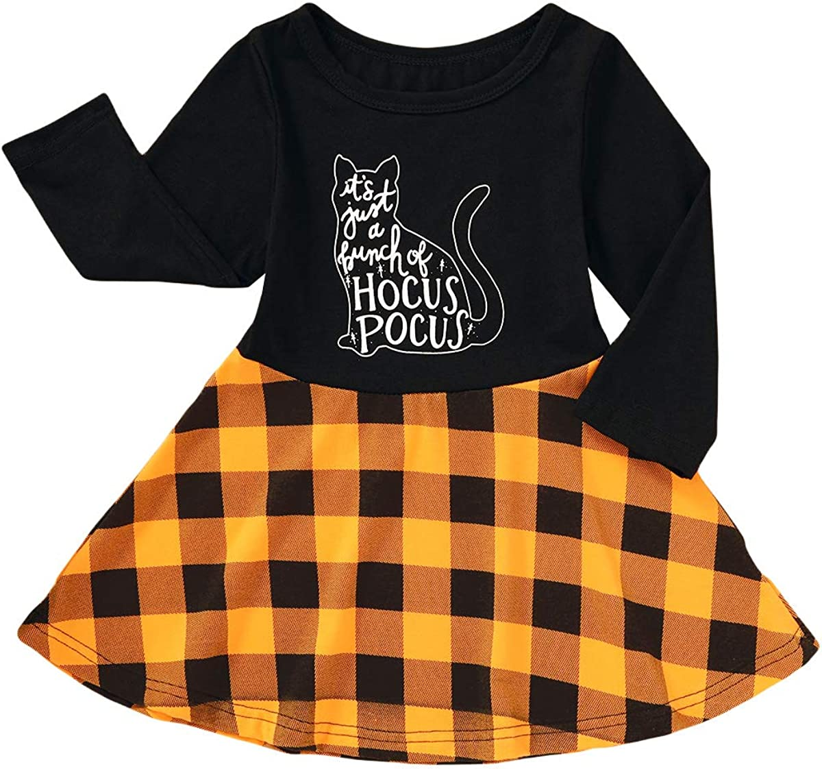Toddler Baby Girls Clothes Halloween Dress Cartoon Pumpkin Ghost Spider Print Outfits