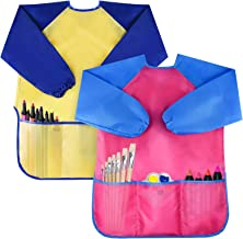 Bassion Pack of 2 Kids Art Smocks, Children Waterproof Artist Painting Aprons Long Sleeve with 3 Pockets for Age 2-6 Years...