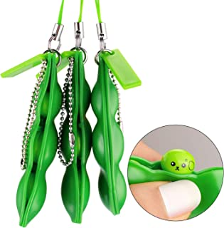 Anpole Fidget Bean Toy,3 Pack Squeeze-a-Bean Puchi Puti Mugen Edamame Keychain Keyring Extrusion Bean Pea Soybean Stress Relieving Chain Toys (3 pcs)