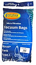 Royal Canister/Tank Style J Bags, EnviroCare Replacement Brand, designed to fit Royal Tank Vacuum Cleaners, 99.7 Microfiltration, 7 bags, 1 microfilter in pack
