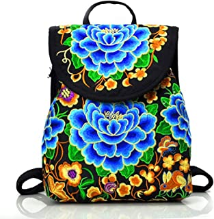 Women's Embroidery Backpack Canvas Multicolor Flower Ethnic Casual Floral Daypack