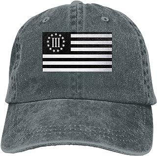 Unisex Vintage Washed Baseball Cap 3 Percenter Flag. Cotton Adjustable for Men Women