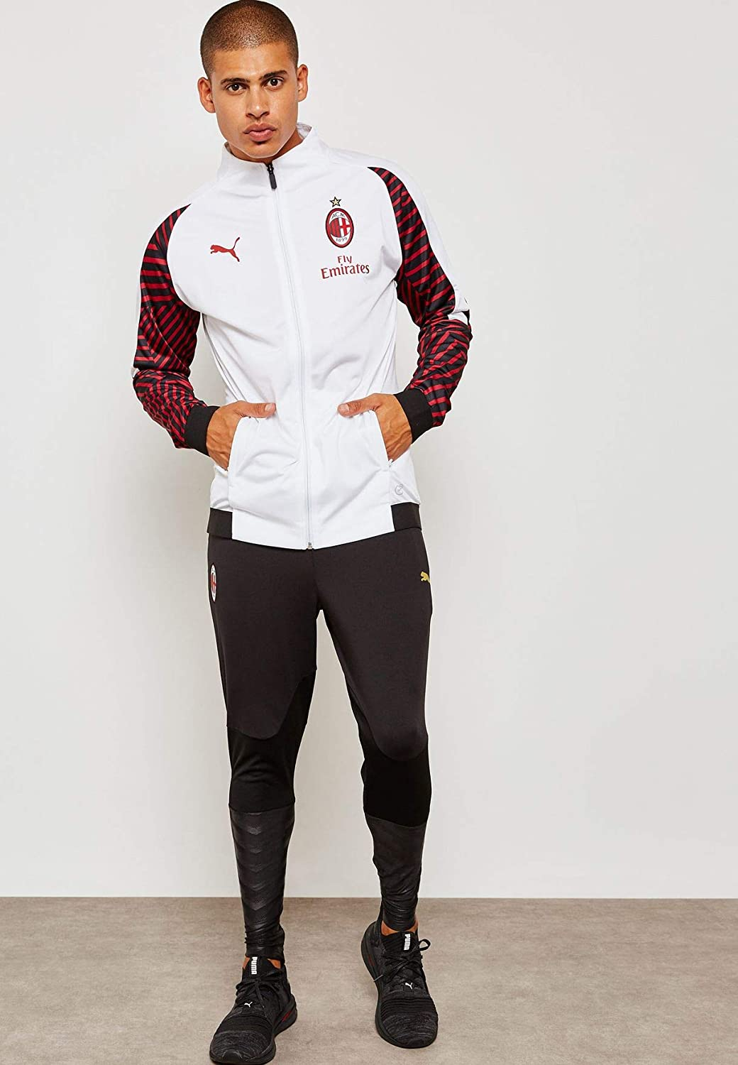 Amazon Com Puma Ac Milan Stadium Jacket W Sponsor Clothing