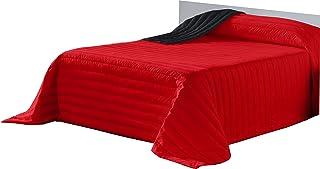 Lucena Cantos - Colcha Todo Uso Bicolor, Fibra 120 gr, (Rojo/Negro, 180 x 270)