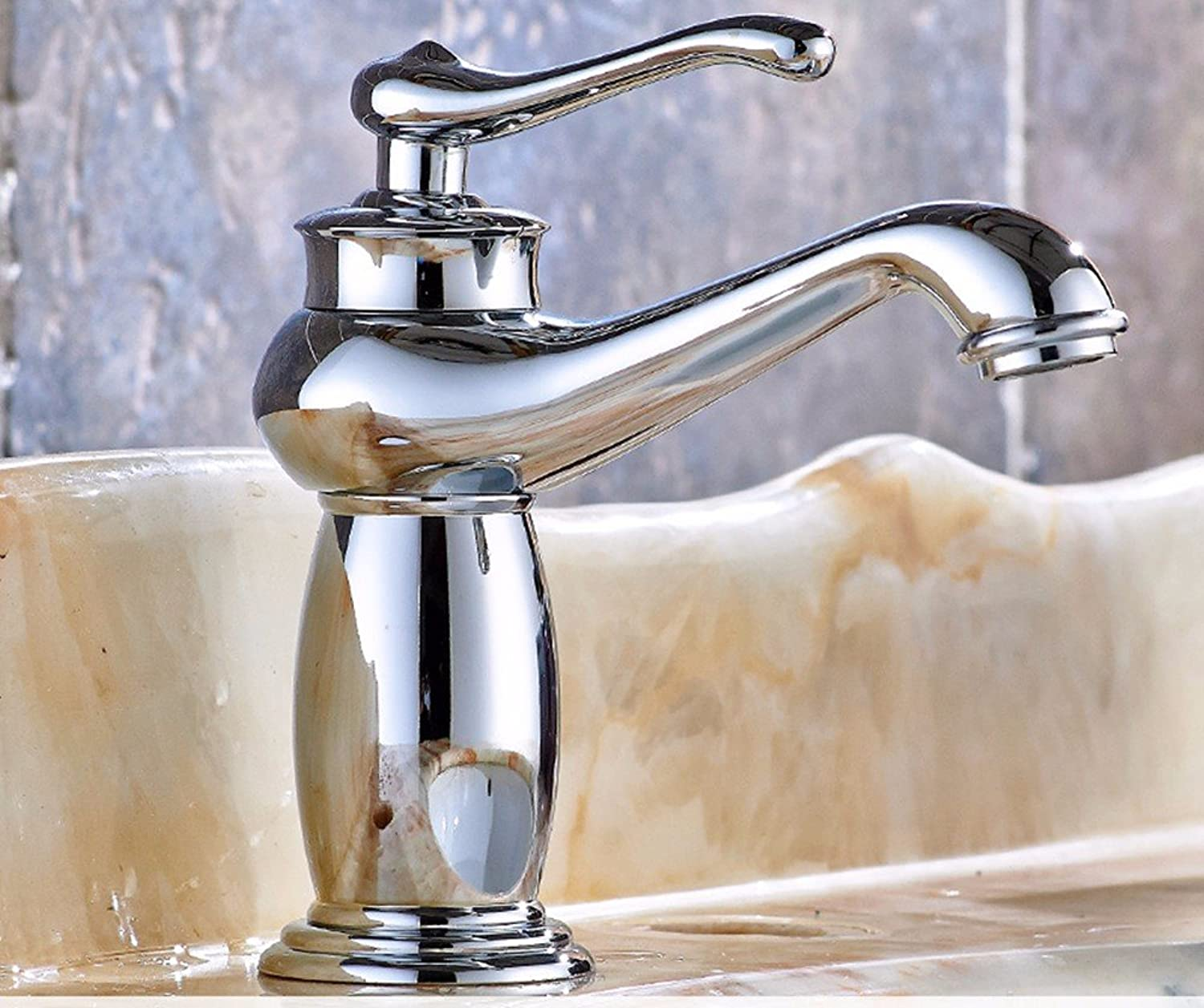 AWXJX European style retro style copper basin hot and cold Swivel Chrome Plated water taps