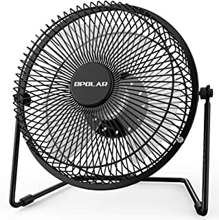OPOLAR Office Quiet Desk Fan, USB Powered Only, 360 Degree Rotation, Perfect Personal Fan, Mini Metal Cooling Fan Dorm Office Table - 5V 6 inch Enhance Airflow (Black) (Renewed)