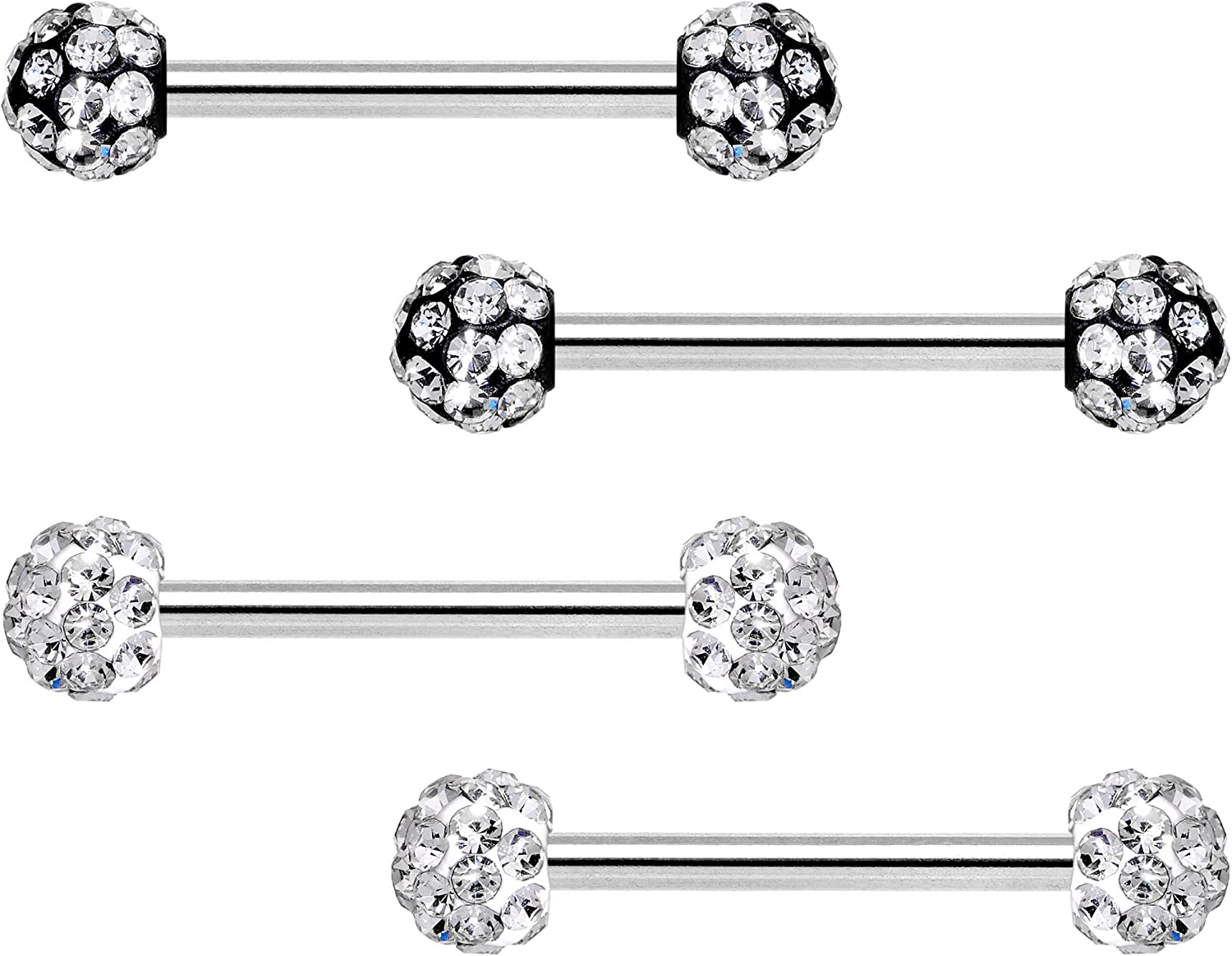 Body Candy Womens 4Pc 14G Nipplering Piercing Steel Clear Accent Disco Ball Barbell Nipple Rings 9/16