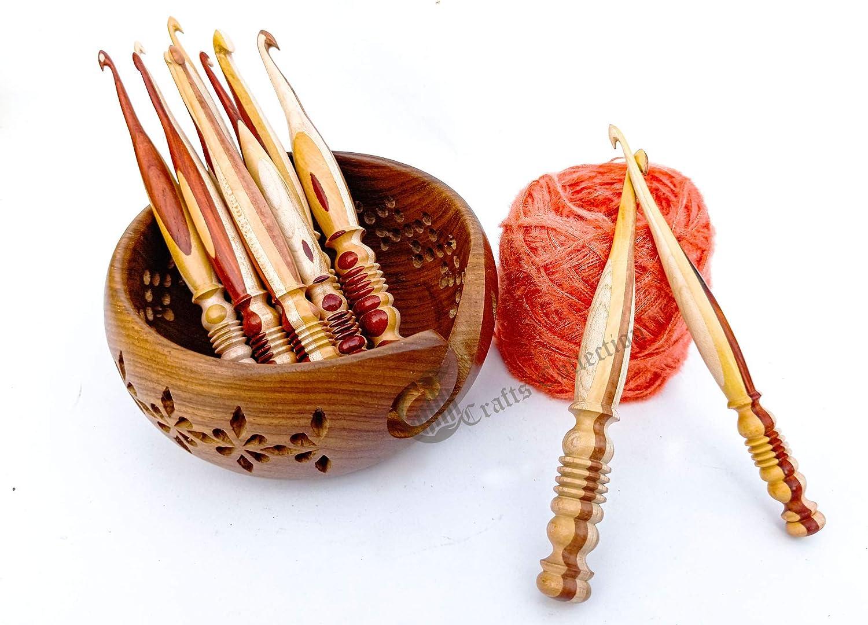 Fashion Ergonomic Rosewood Maple Crafted Wooden Hooks Se Crochet Max 83% OFF Set