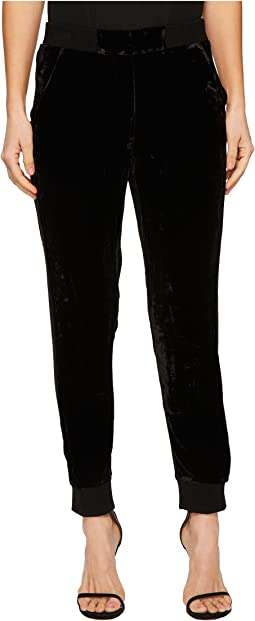 Velvet High-Waisted Trousers with Ribbed Edging