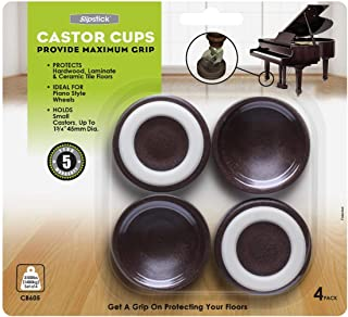 Slipstick CB605 Furniture Wheel Caster Cups/Floor Protectors with Non Skid Rubber Grip (Set of 4 Grippers) 1-3/4 Inch- Cho...