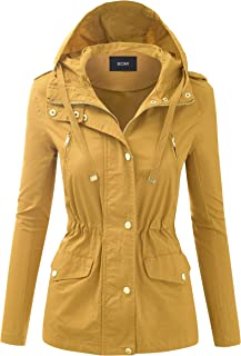 Women's Zip Up Safari Military Anorak Jacket with Hood Drawstring - Regular and Plus Sizes